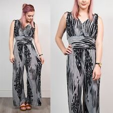 VINTAGE GREY AND BLACK TIE SYE EFFECT STYLE JUMPSUIT ROMPER 90'S STYLE RETRO 8