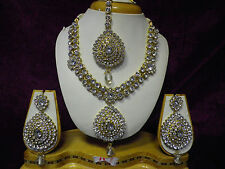 New Indian Bollywood Costume Jewellery Necklace Set With Earrings & Tikka -U1