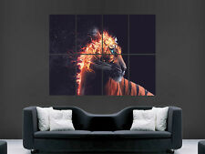 FLAMING TIGER ABSTRACT  GIANT WALL POSTER ART PICTURE PRINT LARGE HUGE