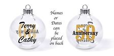 Anniversay glass ball christmas tree ornament personlized name date (free) favor