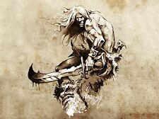 ART PRINT POSTER PAINTING DRAWING DESIGN TATTOO SKETCH WARRIOR GRUNGE LFMP0691