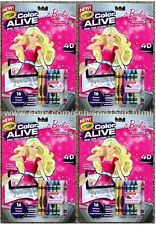 Lot of 4 Brand New CRAYOLA Color Alive Barbie, 7 Crayons +16 Coloring Pages