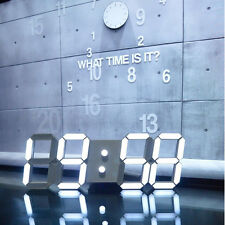 LED Large 3D Big Digital Wall Clock Skeleton Modern Design HomeDecor Alarm Timer