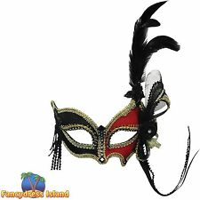 MASQUERADE RED BLACK EYE MASK & FEATHER Womens Fancy Dress Costume Accessory