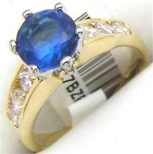14K GOLD EP 1.9CT DIAMOND SIMULATED SAPPHIRE RING 7 or O