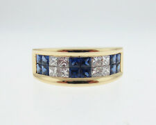 Natural Blue Sapphires F-G VS Diamonds Solid 18k Yellow Gold Ring 8mm Band