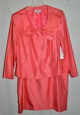 J Rose Pink Coral Womens Skirt Suit with Large Bow on Blazer Plus Size 22W NWT