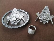 freemason, widow sons, buckle, pin and ring set hiram abiff masonic