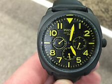 men's pulsar PP6077 chronograph 100m water resisant black leather strap