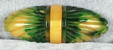 Vintage Bakelite Brooch Pin - 3 Color Laminated 3D Carved Oval Design Tan Green