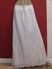 BANANA REPUBLIC PURE WHITE COTTON LONG MAXI MODEST LINED PULL-ON  SKIRT SZ 10