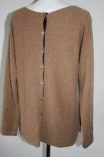 BODEN LADIES FAB 100% CASHMERE CAMEL JUMPER BUTTON BACK SIZE 12  MUST SEE !!!