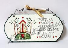 Targa targhetta decorativa country legno per porta con frasi