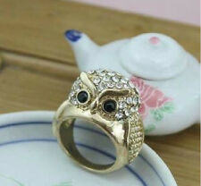 R172 BETSEY JOHNSON Cute Night Guardian Owl Owlet with Crystal Ring US