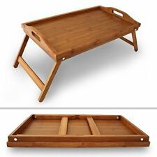 Bamboo Folding Breakfast Lap Tray Wood Over Bed Table Stand Kitchen Wooden New