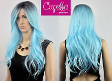 Capella London Layered Wavy Long Blue Wig Hair Dark Roots Kylie Jenner