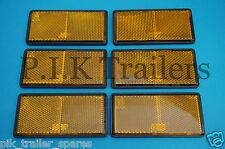 FREE P&P * 6 x amber adhésif coller sur les réflecteurs 100mm x 50mm-remorques