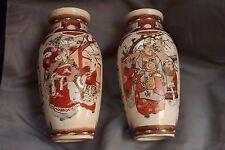 """Antique Pair of Satsuma 7 1/2"""" Vase's 4 Different Nobility Scenes"""