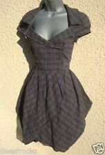 UK 10 TARTAN CHECK TULIP VICTORIAN STEAMPUNK WAR BRIDE CHECK DRESS - US 6 EU 38