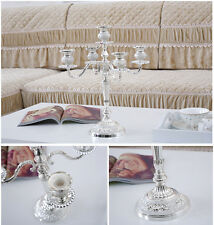 European 5Arm Silver Plated Taper Candle Holder Candelabra Table Valentine's Day