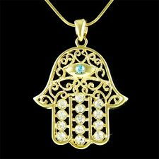 Big w Swarovski Crystal Jewish ~Hamsa Hand~ Hamesh Evil Eye Gold Plated Necklace