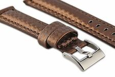18 mm Brown Carbon Fiber Leather Watch Band Strap Brown Stitch Wristwatch