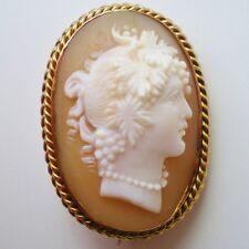 Antiguo Camafeo De Oro 9ct Victoriano que representa una bacante seguidor de Bacchus c1900