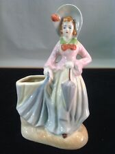 "Vintage Rare Occupied Japan Young Lady Holding Umbrella Planter 1940's 6.3"" Tall"