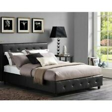 Merveilleux 3 Piece Bedroom Set Queen Size Furniture Black Leather Bed 2 Nightstands  Tables