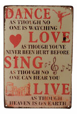 Dance Love Live Funny Tin Sign Bar Pub Garage Home Art Wall Decor Poster Retro