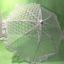 Vtg White Lace Sun Parasol Wedding Bridal Umbrella Victorian Photography Plastic