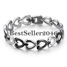 Silver Stainless Steel Eternity Love Open Heart  Greek Key Link Promise Bracelet