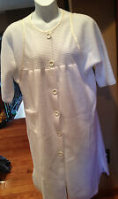 Vtg CARRIAGE COURT White trimmed Ivory FLEECE ROBE Long HOUSECOAT Button Front