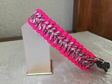 "Praying Arm Paracord Dog Collar 8""-16"" Neon Pink/ Pink Camo"