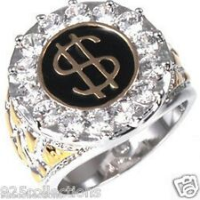 Money Dollar Sign Poker Casino CZ Clear Birthstone Men Two Tone Ring Size 8