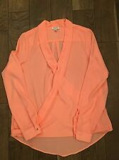 River Island Bright Coral Cross Front Long Sleeved Blouse Top Size 10 New