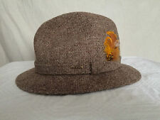Mens Stetson Harris Tweed hustler hat handwoven in Scotland beige feather 6 7/8