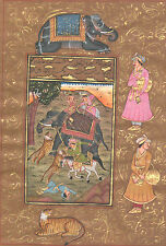 Royal King Hunting Tiger Vintage Old n Paper Art Miniature Painting Artist_AR389