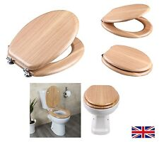 new Toilet Seat Beech Veneer Wood Sit Tight Bathroom Chrome Hinges