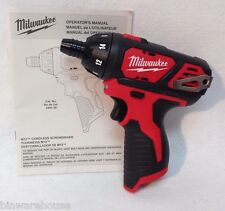 Milwaukee 2401-20 New M12 12V 12 Volt Cordless Compact Screwdriver Drill