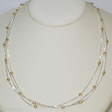 "18"" Sterling Silver 925 Chain with Gold Filled Beads 3 Strands Two Tone NECKLACE"