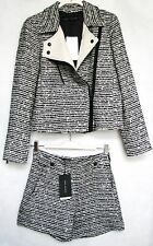 NWT ZARA Jacket Tweed Wool Blazer Lapels and High Waisted Shorts Set Size M