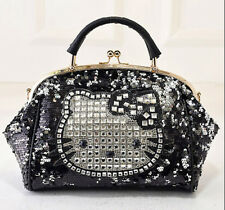 HelloKitty Crystals Messenger Cross body Handbag Shoulder Bag 2016  New Black