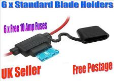 6 X SPLASH PROOF STANDARD BLADE IN LINE HOLDER WITH 10 AMP FREE FUSES (F)