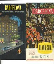 Lot Of 2 Vintage HOTEL RITZ Brochures Barcelona Spain Late '50's With Map