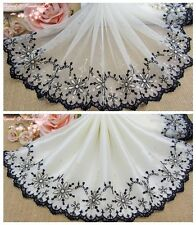 """8""""*1Y Embroidered Floral Tulle Lace Trim~Beige+Black+Gold~Dazzling Stars~SALE~"""
