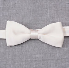 New BRIONI Ivory White 100% Silk Satin Formal Bow Tie Handmade in Italy Small
