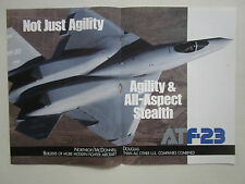 4/1991 PUB NORTHROP MCDONNELL DOUGLAS YF-23 F-23 STEALTH ATF FIGHTER ORIGINAL AD