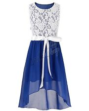 Blue Girls Kids Pageant Party Ball Gown Bridesmaid Wedding Chiffon Dresses 12T