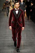 Mens Velvet Suits Custom Made Wedding Suits 3 Piece Suits Groom Tuxedos Blazers